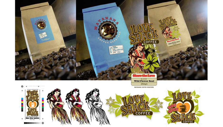 Brand and Packaging Design for Matakana Coffee Roasters - Love Shack Brand